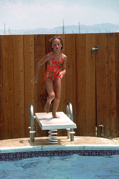 Child on a diving board